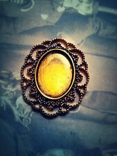 4 Cabochon Settings Cameo Frame Pendant Oval Antiqued Gold 25 x 18 NEW