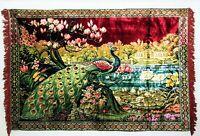 """Vtg Peacock Velvet Velour Tapestry Wall Hanging Rug HUGE 48""""x72"""" Decor Morocco"""