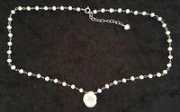 Sterling silver & cultured pearl vintage Art Deco antique necklace C