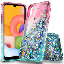 For Samsung Galaxy A01 Case Liquid Glitter Bling Phone Cover HD Screen Protector