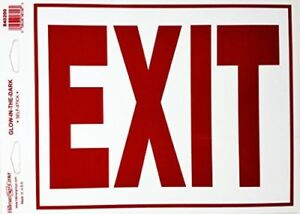 """""""EXIT"""" SIGN Glow-in-the-Dark   self-stick  840200 ( one item ) 8in.x 11in"""