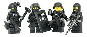 FBI Swat Team Police Squad Minifigures made with real LEGO(R) minifigure parts