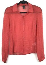 Club Monaco Womens XS Top Red Silk Blend Sheer Button Up Shirt Blouse