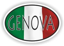 Genova OVAL WITH ITALIAN FLAG STICKER ITALY ITALIA AUTO MOTO TRUCK LAPTOP
