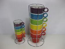 Rainbow Pride Color Maison Plus Espresso and Coffee Mug set w/ Metal Stand