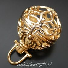 3PCS Rose Golden Charms Jewelry Pendants Hollowed Ball Lockets Mexican Bola Bell