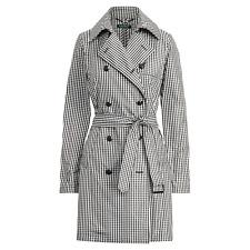 New RALPH LAUREN Women's Gingham Twill Water-Resistant Trench Coat Black size 14