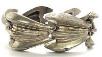 Vintage Oxidized Sterling Silver Mid Century Modern Groove Shell Chunky Bracelet