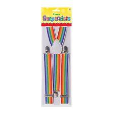 Adults Rainbow Clown Circus Trouser Braces Pride LGBT Suspenders Fancy Dress