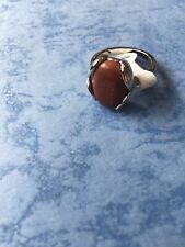 New Womens Silver Plated Natural Stone Rings Rhinestone Size N
