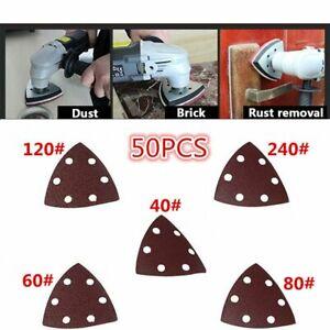 50pcs Set 40# 60# 80# 120# 240# Triangle Sanding Disc Sheet Mouse Sandpaper Pads