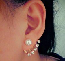 Pair Of Pearl & 5x Crystal Rhinestone Ear Cuff Stud Earrings Climber Rings ECF12