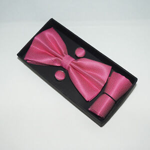 Mens Boxed BOW Tie Cufflinks Pocket Square Set - Wedding Party Gift