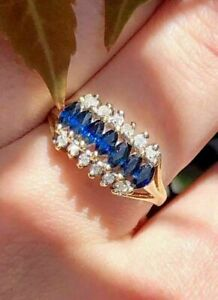 2.20Ct Marquise Cut Blue Sapphire Engagement Band Ring In 14k Yellow Gold Finish