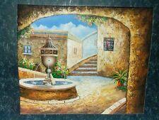 Mediterranean Courtyard Scene by W. Adams Original  Oil on Canvas Painting