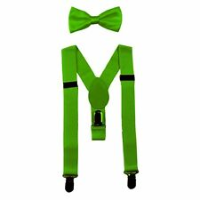 NEW Lime Green Kids Baby Suspenders and Bow Tie Set Elastic Adjustable