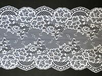 "laverslace Bright White Floral Clipped Wide Stretch Tulle Lace Trim 7""/18cm"