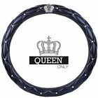 Queen Bling Diamond Car Steering Wheel Cover For Girls Women Black