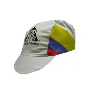 Cafe' De Colombia Vintage Cycling Cap White Retro Team Standard Bicycle Cap