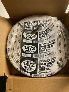 Romex 250' Roll 14-2 AWG Gauge NM-B Indoor Electrical Copper Wire Cable w Ground