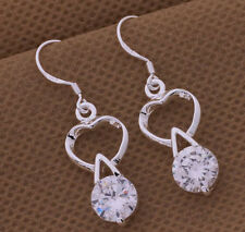 925 Silver Plated Heart and Crystal Drop Dangle Earrings Stunning Ladies Gift