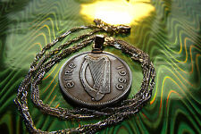 "1959 Ireland Floiron Harp Coin Pendant on a 28"" Wavy Twisted Silver Chain."