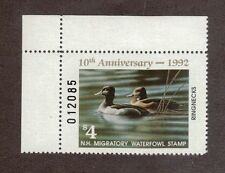 NH10 - New Hampshire State Duck Stamp. Corner Margin Single MNH.OG  #02 NH10CMS