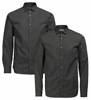 JACK & JONES Premium Print Long Sleeve Mens Slim Fit Cotton Shirt Button Down