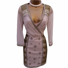 Karen Millen Oriental Embroidered Tapework Luxe Metallic Cocktail Dress 14 UK