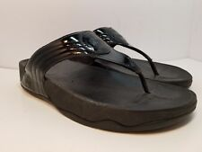 FITFLOP Walkstar Thong Flip Flop Sandals Shoes Patent Leather Black Size 9 M