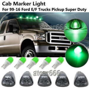 5PC Smoke Cab Roof Top Light Marker Green Ceramic LED for 99-16 Ford E/F Pickups