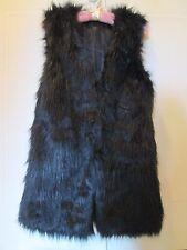 FAUX Mink Fur Sleeveless Vest Jacket Lined HookStud Close Pockets S/M YUMMY
