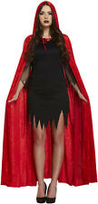 Red Velvet Hooded Devil Vampire Cape Cloak Halloween Fancy Dress P7853