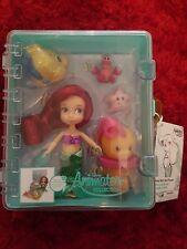 Disney Store 'Ariel' Mermaid, Mini Animator Colección Little Muñeca Conjunto de Juego
