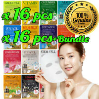 16pcs Malie Korean Face Mask Sheet Pack Facial Mask Moisture Skin Care K-Beauty
