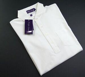RAPLH LAUREN Purple Label Men's White Luxurious Pima Cotton Polo Shirts NWT $295