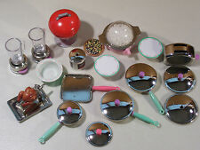 LARGE LOT OF TYCO KITCHEN LITTLES POTS & PANS, POPCORN MAKER TOASTER DOLL SIZE