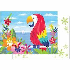 Lush Luau Parrot Flora 8 Ct Invitation Postcards