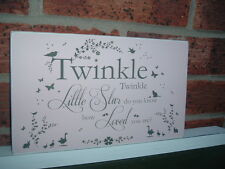 shabby vintage chic twinkle twinkle little star nursery sign plaque gift idea