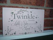Shabby Chic Vintage Twinkle Twinkle Little Star Nursery per bambini CARTELLO TARGA