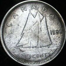 1938 AU Canada Silver 10 Cents - KM# 37 - Free Shipping