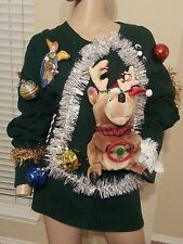Ugly Tacky Xmas Singing Tinsel 3D Light Up Moving Reindeer Sweater Unisex L