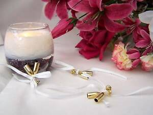 48 x Gold Champagne Flutes With Ribbon Wedding/Anniversary Favours