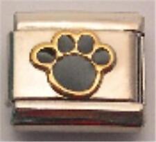 GOLD & BLACK PAW ITALIAN CHARM DOG KITTEN PUPPY PET 9MM CLASSIC DIY BRACELET NEW