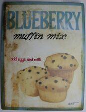 Iron Tin Metal Sign Home Kitchen Blueberry Muffin Mix egg & milk Decor wall art