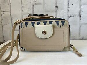 Spartina Crossbody Multi Phone Linen Leather Blue Cream Tybrisa Wallet Bag Purse
