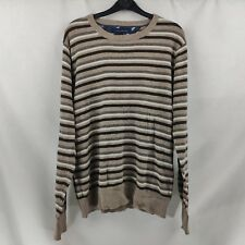 Tommy Hilfiger Mens Jumper Size M Brown Striped Cotton with Wool, 01