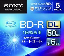 5 Sony BD-R DL 50GB 6x Speed Dual Layer Inkjet Printable Bluray Region Free Disc