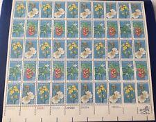 Endangered Flora. Stamp issued 1971 sheet of 50 Stamps. Very nice vintage stam