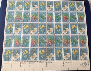 Endangered Flora.  Stamp issued 1971 sheet of 50 Stamps.  Very nice vintage stam